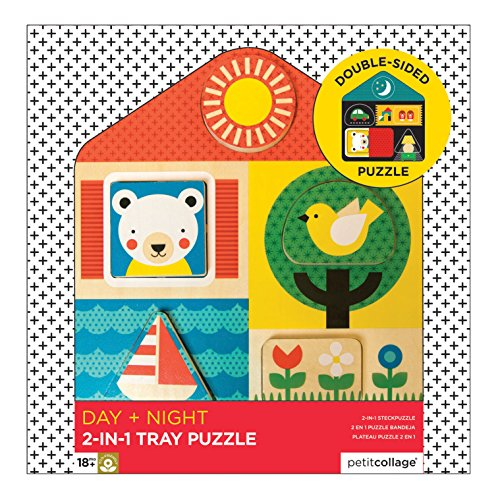 Petit Collage 2-in-1 Double-Sided Wooden Tray Puzzle, Day and Night ()