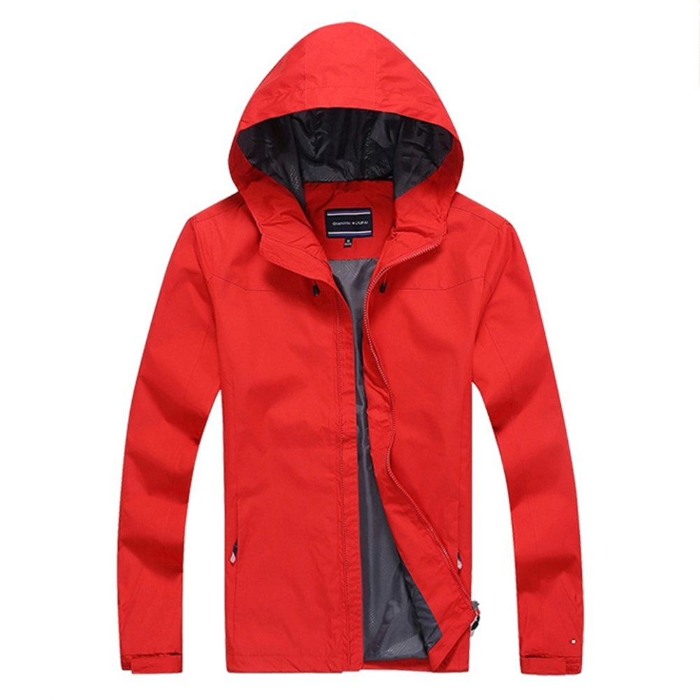 NIAN Sports jacket men spring and autumn Men's thin jacket casual hooded outdoor (Color : Red, Size : S) by NIAN (Image #2)
