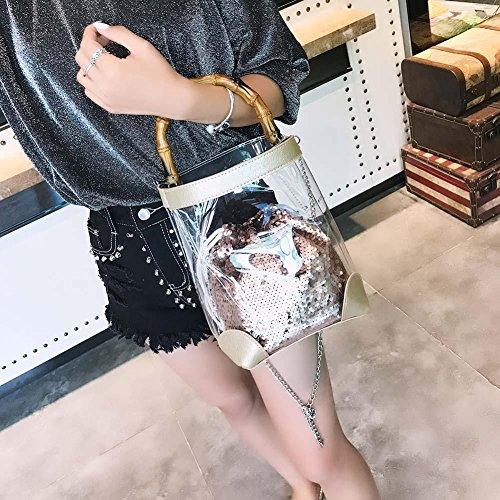 Shoulder PVC Handbag Crossbody Gold Glitter Girl Ecotrumpuk Sequin Bucket Chain Clear Women wqqvXYxzf