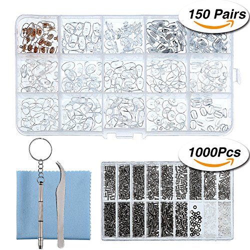 Sumind Eyeglass Repair Kit 150 Pairs Eyewear Nose Pads Set and 1000 Pieces Screws Nut Washer with Tweezers Screwdriver and Cleaning - Frame Repair Eyewear