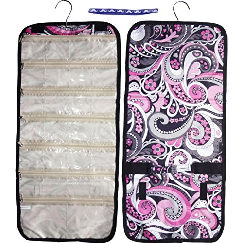Best Pink Purple Hanging Jewelry Kit Back to School Supplies Hanger Travel Bag Roll Up Organizer Makeup Cosmetic Case Unique Awesome Cute Top Sweet Girl Sale Gift Idea Under 15 Dollars for Her Women by TravelNut