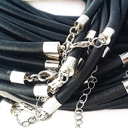 5pc Black Fabric & Plastic Necklace Cords w Silver Brass Clasp- Jewelry Making 3mm, 18