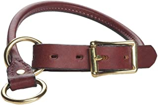 product image for Mendota Pet Leather Rolled Collar - Dog Collar - Made in The USA - Chestnut, 3/4 in x 18 in (Training)