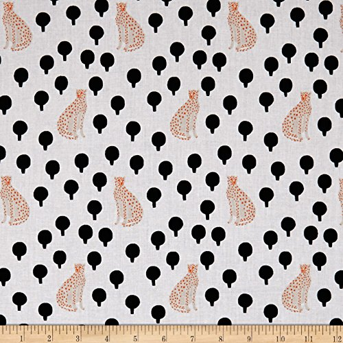 - Andover Around Town Cheetahs Arctic Fabric by The Yard