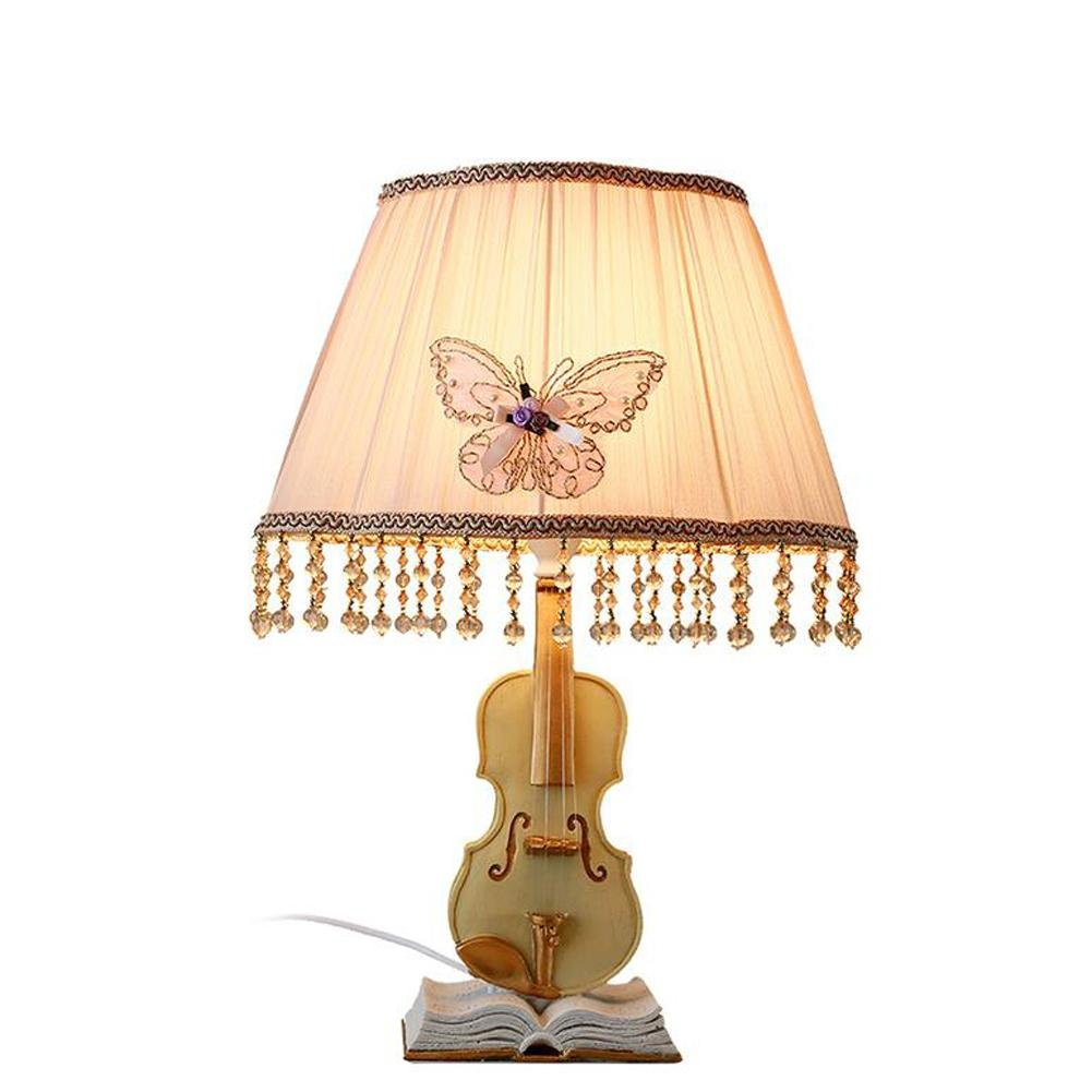 L@YC Bedroom Table Lamp Bedside Living Room Creative Violin Cloth Decoration Dimming Warm Table Lights , as picture , A