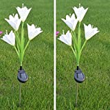 Yiwa Solar-Powered 4-head Lily Pin Lamp Fashion Creative Night Light Yard Garden Decoration 2 Pcs white