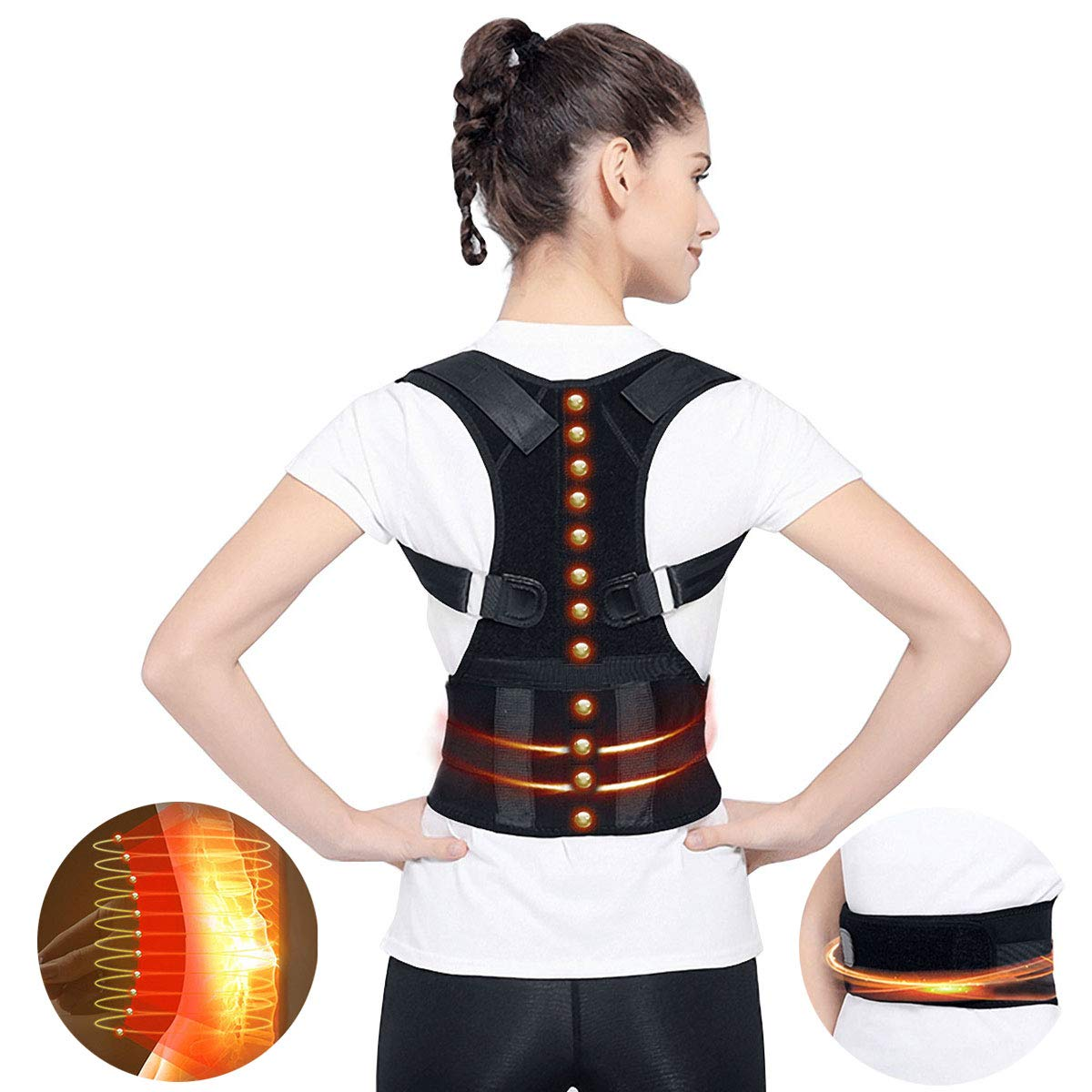 Magnetic Therapy Posture Support Back Brace, Medical Adjustable Posture Humpback Corrector Brace Straighten and Correct Posture Upper Shoulder Waist Lumbar Support Belt Relieves Neck Back Spine Pain