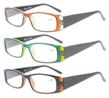 9b1f25b5c89 Eyekepper 3 Pack Stylish Look Crystal Clear Vision comfort Spring Arms Reading  Glasses Women Include Case Cloth +1.5  Amazon.co.uk  Health   Personal Care
