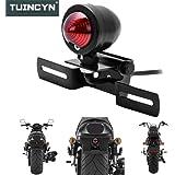 Tuincyn Luz trasera universal de motocicleta con soporte marco matrícula Moto DRL Indicador Lámpara Piloto Trasero 12V 20W.