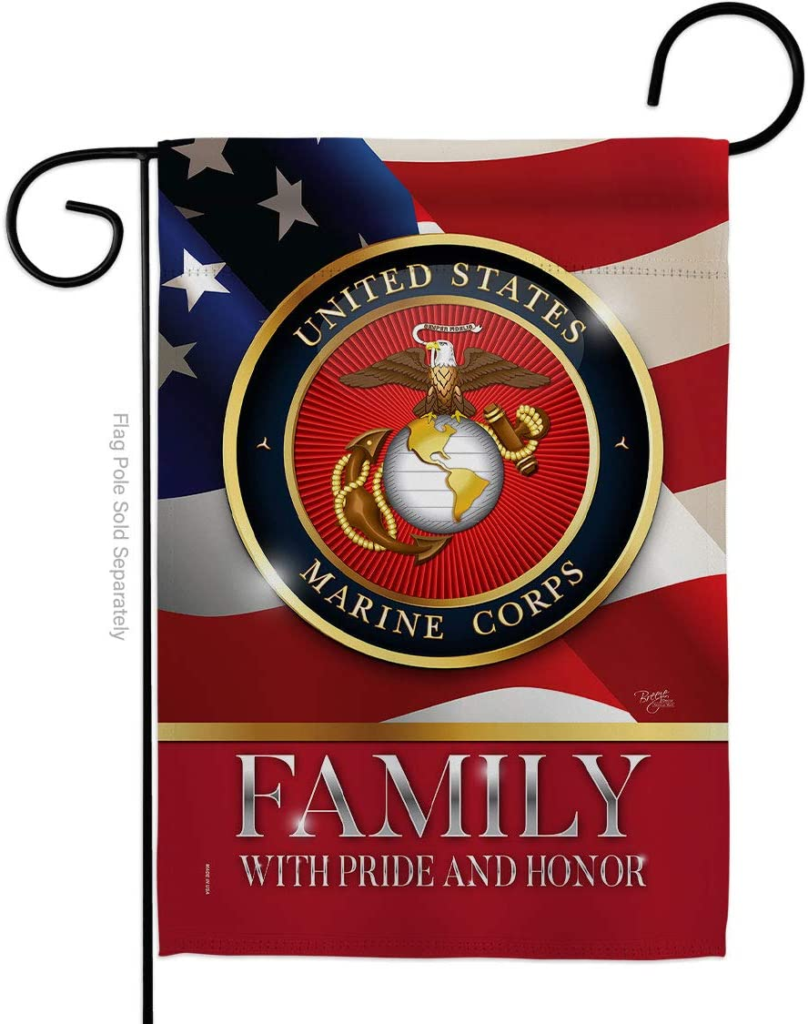 Breeze Decor US Marine Family Honor Garden Flag - Armed Forces Corps USMC Semper Fi United State American Military Veteran Retire Official - House Banner Yard Double-Sided Made in USA 13 X 18.5
