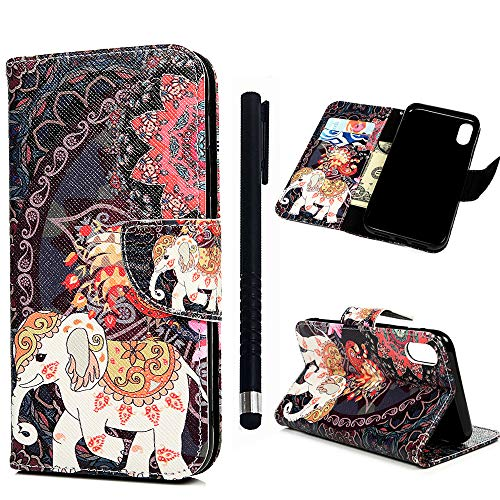 Compatible for iPhone Xr Case - MOLLYCOOCLE Black Elephant PU Leather Wallet Purse Credit Card ID Holders Design Flip Folio TPU Soft Bumper Clear Ultra Slim Fit Cover for iPhone Xr 6.1'' ()