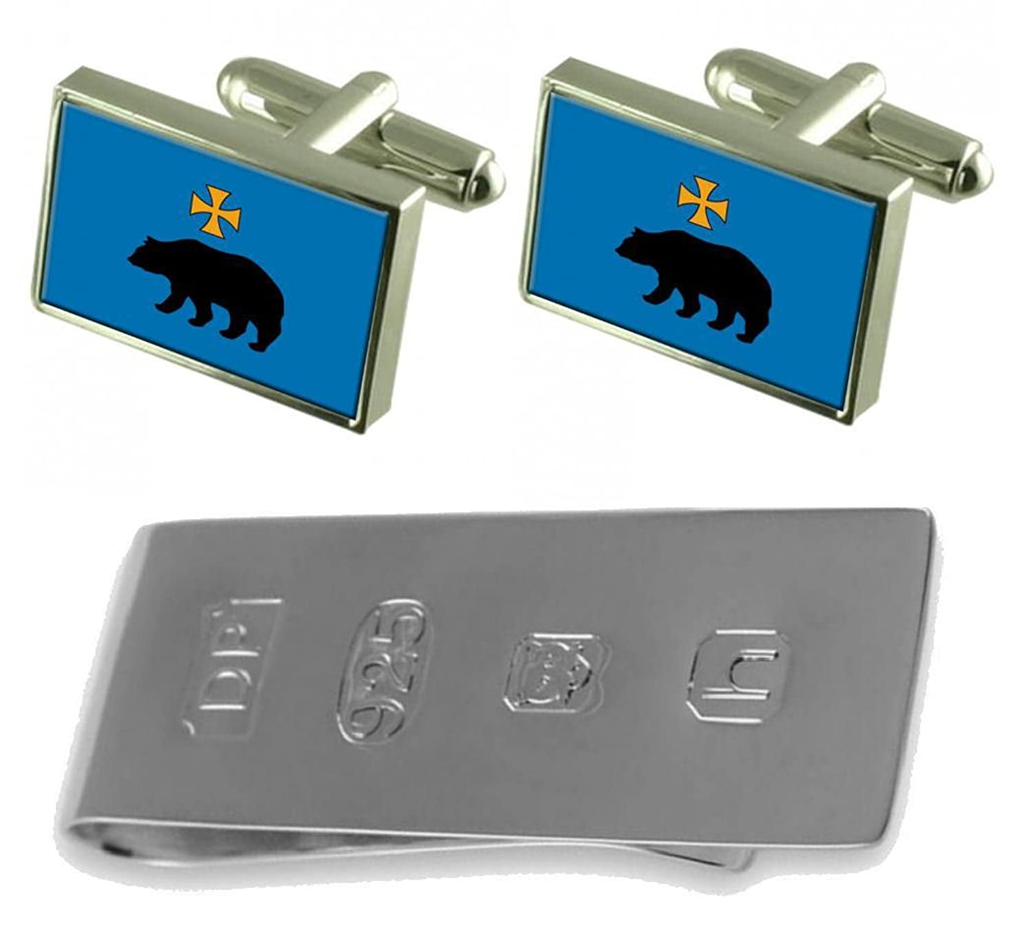Przemysl City Poland Flag Cufflinks & James Bondお金クリップ B077WZ2NBY