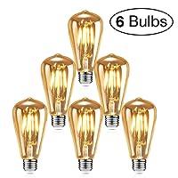Edison - Lampadine LED a incandescenza, isimsus Retro, luce bianca calda, E27, 40 W, stile vintage, con filamento, ideali per illuminazione nostalgica e retrò, 6 pz