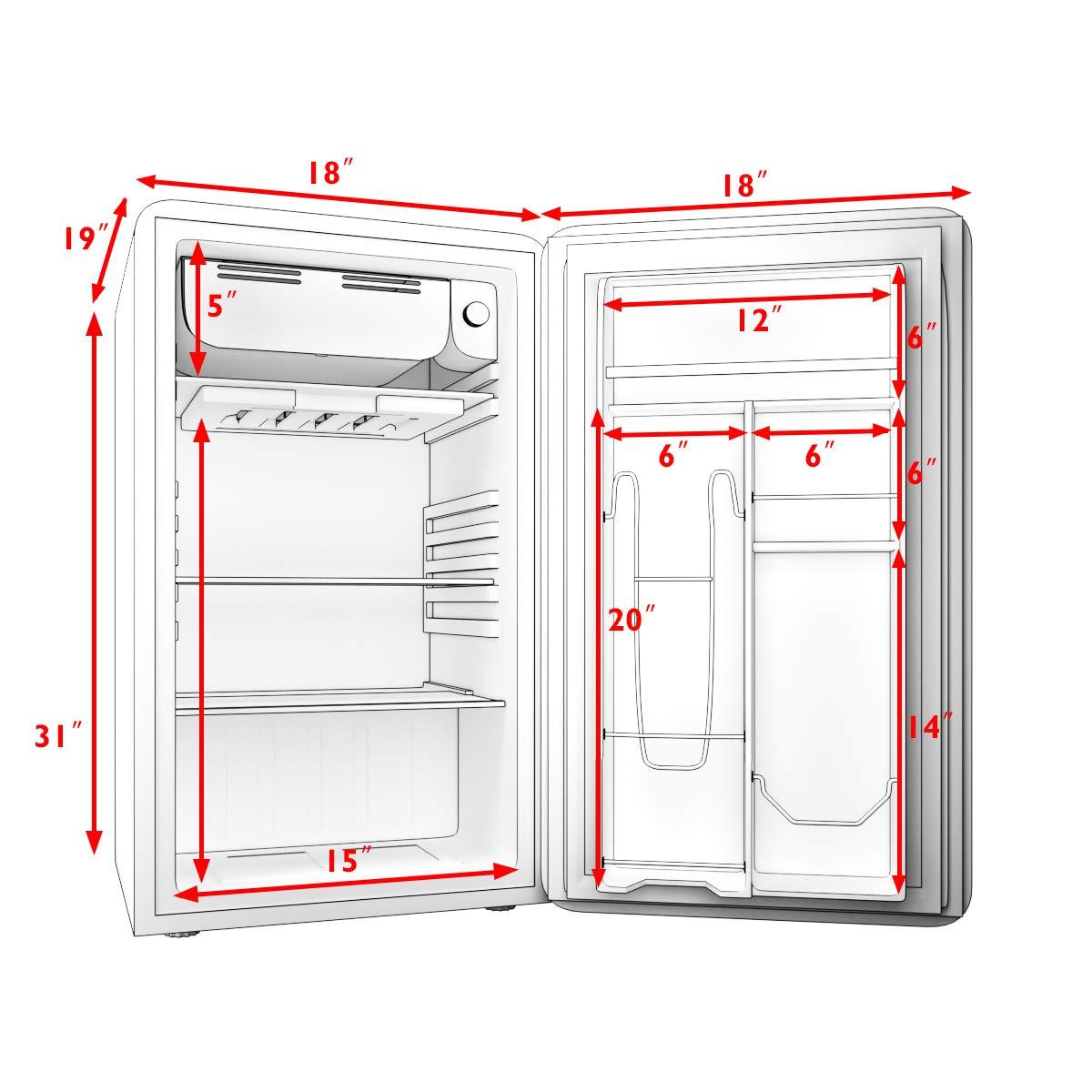 Office ft Single Door BLACK Small Under Counter Mini Refrigerator COSTWAY Compact Refrigerator Fridge Freezer Cooler Unit w//Handle for Dorm 3.2 cu Apartment