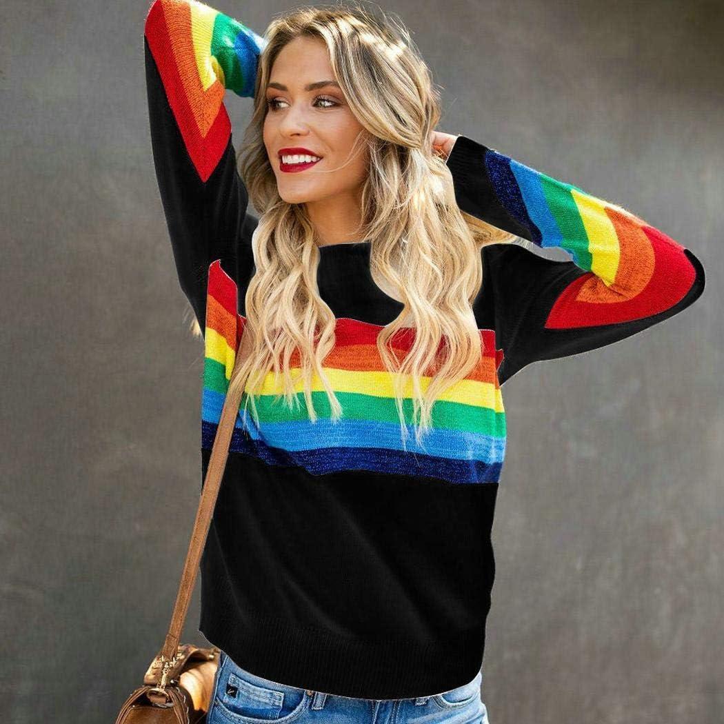 Redpol Women Fashion Round Neck Long Sleeve Striped Patchwork Sweatshirt Fashion Sweatshirts