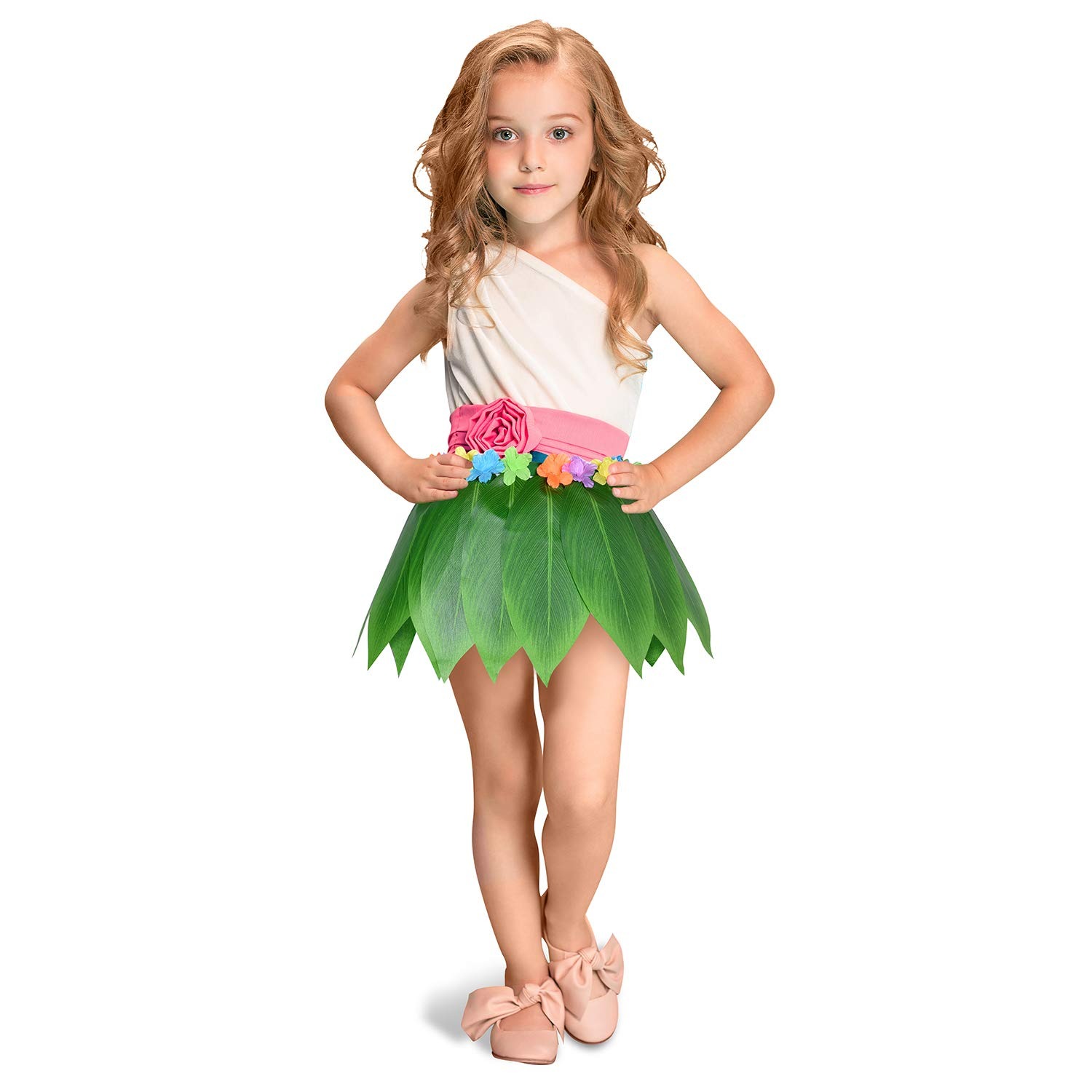 Ti Leaf Hula Skirt Hawaiian Leaf Skirt Green Grass Skirt with Artificial Hibiscus Flowers for Beach,Luau Party Supplies Leegleri
