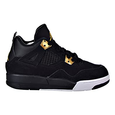 5510c1b86f1712 Boys  Toddler Jordan Retro 4 Basketball Shoes 308500-032 Black Metallic Gold