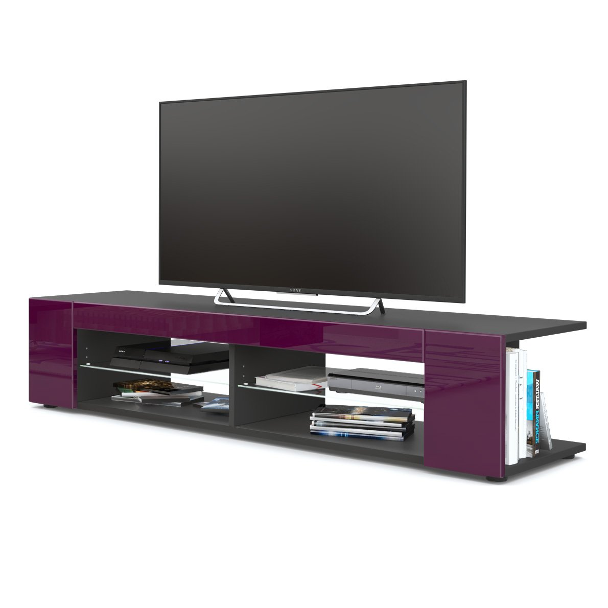 Front in Raspberry High Gloss without LED Vladon TV Unit Stand Movie, Carcass in Black matt Front in Grey High Gloss