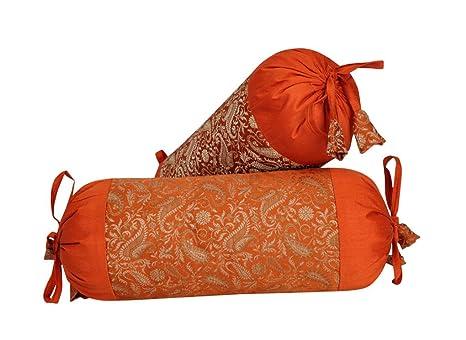 Indian Handmade Brocade Silk Paisley Bolster Pillow Cushion Cover 18 x 8 Inch