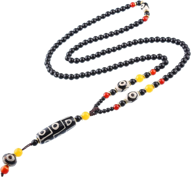 ANCIENT FENG SHUI AGATE OLD TIBETAN DZI BEAD PRAYER PENDANT *3EYE*