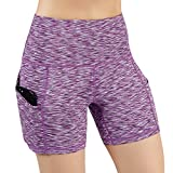 ODODOS High Waist Out Pocket Yoga Short Tummy Control Workout Running Athletic Non See-Through Yoga Shorts,SpaceDyePurple,X-Small