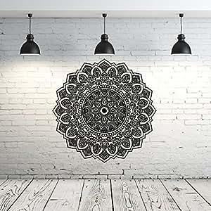 Mandala Wall Decal Yoga Studio Vinyl Sticker Decals Ornament Moroccan Pattern Namaste Lotus Flower Home Decor Boho Bohemian Wall Decal Bedroom Dorm ZX104