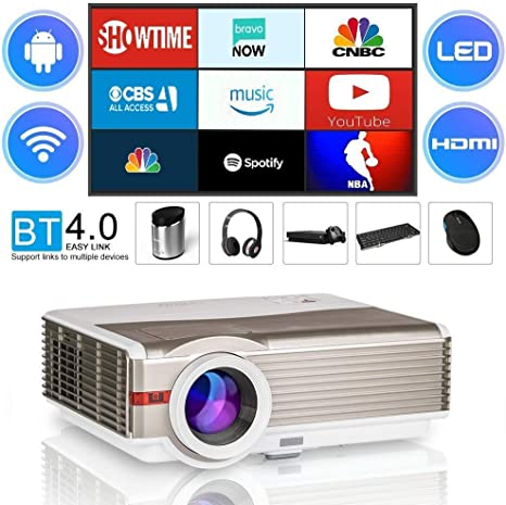 LED Projector LCD 5000 Lux WiFi Bluetooth Wireless Smart Proyector Free HDMI Cable, Multimedia HD Movie Gaming Projector Support 1080P HDMI USB VGA AV ...