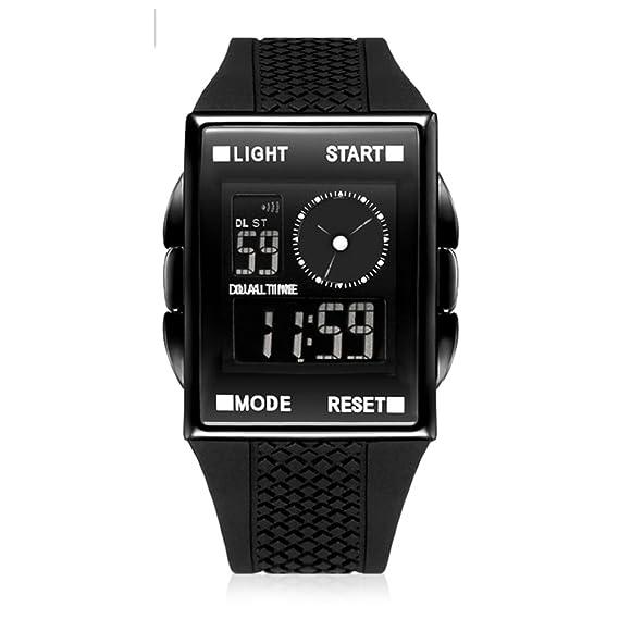 Chico Reloj deportivo,30m impermeable Relojes electrónicos Pantalla de doble huso horario Luminoso Digital Cuadrado Niño] Resistente a los golpes-B: ...