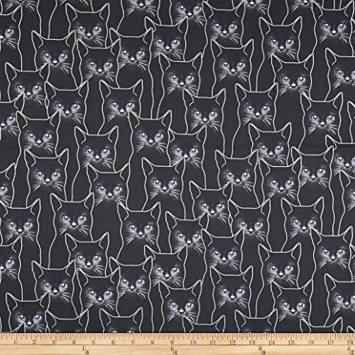 Hoffman Fabrics Full Moon Cats Metallic Fabric, Charcoal/Silver, Fabric By The Yard ()