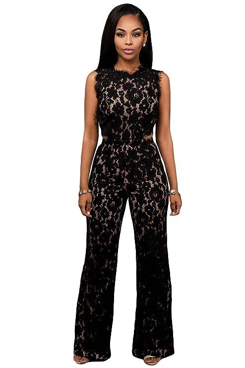 new arrival f6278 931a6 Donna elegante nero e carne con gamba larga tuta Club Wear ...