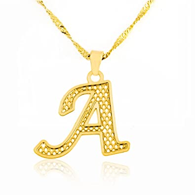 Amazon beautiful initial pendant necklace 24k gold plated amazon beautiful initial pendant necklace 24k gold plated personalized charm choose your letter a jewelry aloadofball Image collections