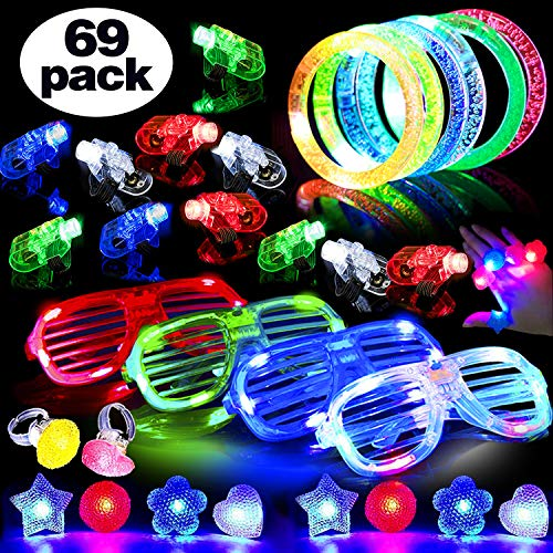 Christmas Led Party Favor 2019 New Year Eve Party 69 Pack Glow in The Dark 50 Light Up Finger Light 4 Flash Glasses 4 Glow Bracelet 10 Bumpy Ring Teen Kid Birthday Gift Girls Boys Prize Toy Assortment