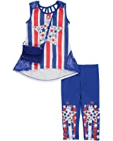 RMLA Little Girls' Toddler Patriotic Glitter 2-Piece Outfit With Purse