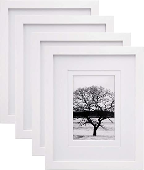 Amazon Com Egofine 8x10 Picture Frames 4 Pcs Made Of Solid Wood Display 4x6 And 5x7 With Mat Hd Plexiglass For Table Top Display And Wall Mounting Photo Frame White