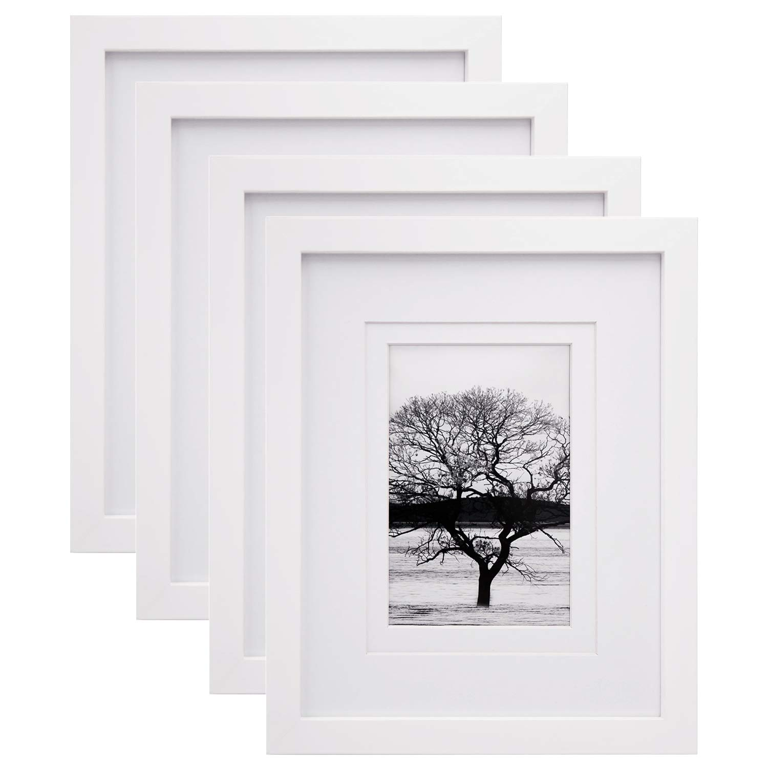Egofine 8x10 Picture Frames 4 PCS - Made of Solid Wood HD Plexiglass for Table Top Display and Wall Mounting Photo Frame White by Egofine