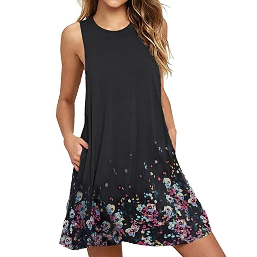Clearance Sale! ZTY66 Women's Floral Printed Boho O-Neck Tunic Pocket Loose Casual Swing Tshirt Dress (Black, L)