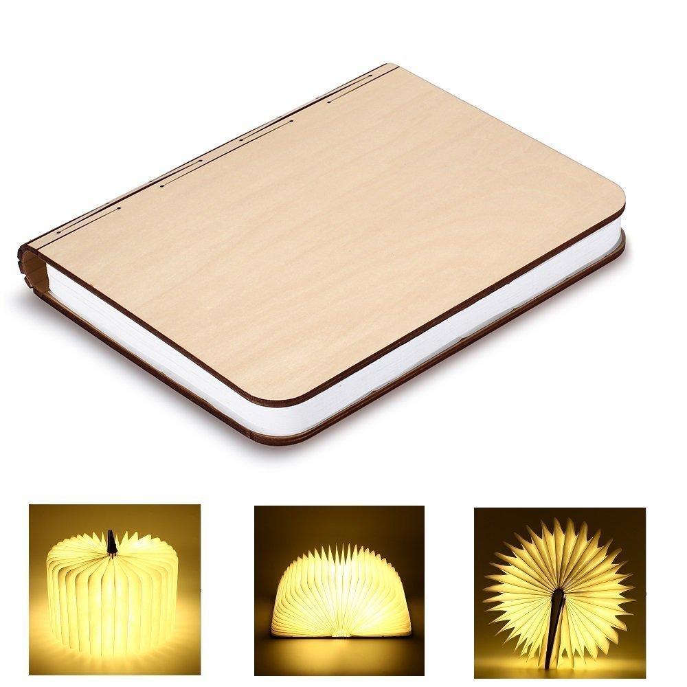 Kleine Buch Lampe mehrfarbig - Holzbuch mit 500 mAh Akku 5050 LED Nachttischlampe Nachtlicht dekorative Lampen Ölbildscheibe Papier + Holz Einband, mehrfarbiges Licht, Maße 11x9x2.5 cm Maße 11x9x2.5 cm Zhangming