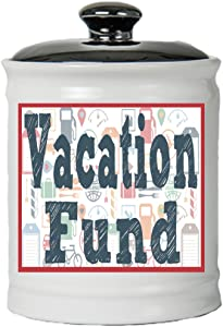 Cottage Creek Travel Fund Round Decorative Ceramic Vacation Fund Jar/Vacation Piggy Bank [White]