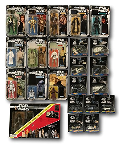 Star Wars 40th Anniversary Mega Collectors 23 Piece Set, Action Figures, Hot Wheels Carships and Starships, and Legacy (Commander Gold Stand)