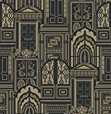 Arthouse Sophie Conran Reflections Luxury Flock Wallpaper Wallpaper Opening Doors Antique Gold 950802 by Sophie Conran Wallcoverings