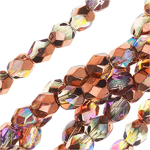 Czech Fire Polished Glass, Faceted Round Beads 4mm, 40 Pieces, Crystal Copper (Buy Glow Necklaces)