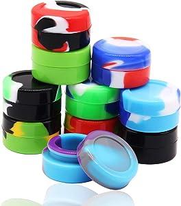 WFB Non-Stick Food Grade Silicone Wax Containers 5ml Non Stick Wax Oil Mini Round Multi Use Storage Jars,10Pcs Different Color (5ml, 10pcs)