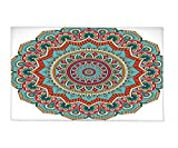 Interestlee Fleece Throw Blanket Mandala Traditional Indian Circle Meditation Folk Spiritual Culture Print Turquoise Teal Orange Red