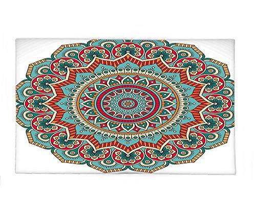 Interestlee Fleece Throw Blanket Mandala Traditional Indian Circle Meditation Folk Spiritual Culture Print Turquoise Teal Orange Red by Interestlee