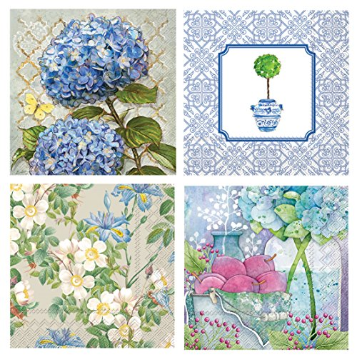 Iris Blossom - Boston International 20 Count 3-Ply Paper Floral Cocktail Napkins, Set of 4, Hydrangea, Topiary, Iris, Apple Blossoms