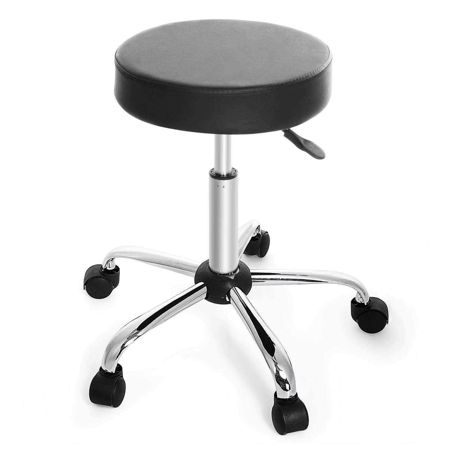 Asatr Synthetic Leather Round Seat Adjustable Rolling Stool for Massage, Medical, Salon, Office