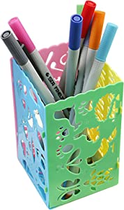 10 Pack Hollow Pen Holder, PET material Pen Pencil Holder Cup, Pen Ruler Desk Sorter, Makeup Cosmetic Brushes Container, Image Ruler, DIY Drawing Tool, Journal Stencils (10)
