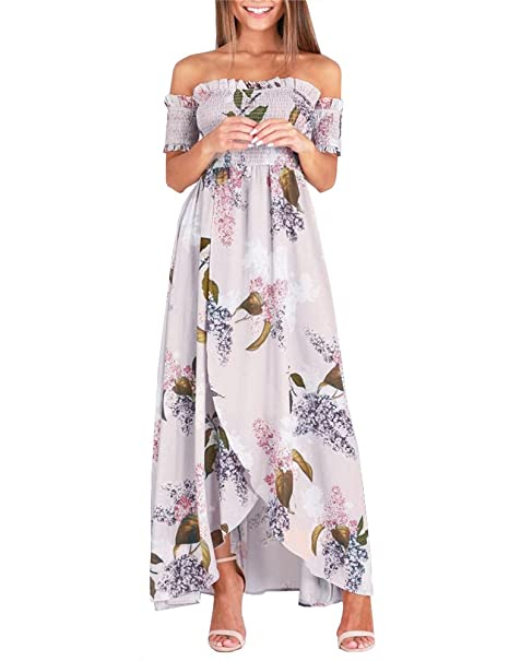 e0c5b8b6335 Ruici Womens Summer Floral Off The Shoulder Short Sleeve Long Maxi Chiffon  Ruffle Casual Slit Beach