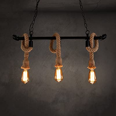 3 lustres Lustre rétro Lustres décoratifs illumination Retro Style E26 / E27 source lumineuse Lustre en fer bar chambre restaurant balcon escalier garage sous-sol (noir)