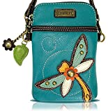 Chala Crossbody Cell Phone Purse - Women PU Leather Multicolor Handbag with Adjustable Strap (Turquoise Dragonfly)